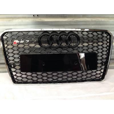 Audi RS7-style Черная глянцевая решетка c хромированной окантовкой для A7/S7