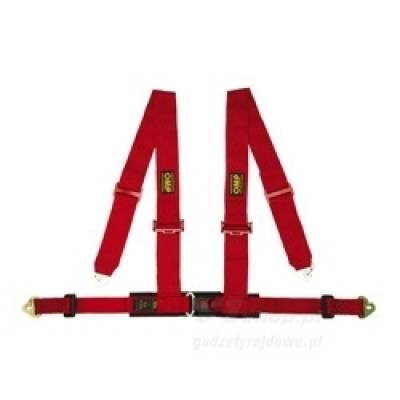 """OMP DA507061 Ремень безопасности 4-х точечный 2""""""""+2"""""""", крючки, красный"""