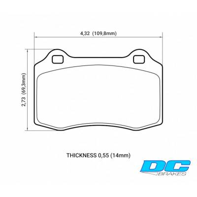 DC Brakes RT.2 задние тормозные колодки для Chevrolet Camaro SS/ Jeep Grand Cherokee SRT8 (WK1/WK2) / Dodge Charger SRT8/ Jaguar XKR