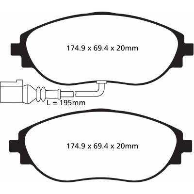EBC Greenstuff передние тормозные колодки для Skoda Octavia A7/Leon 5F/Golf 7 (2012+) (под 340мм торм диск)