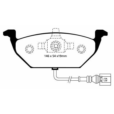 EBC Yellowstuff передние тормозные колодки для Audi A1/A2/A3 (8L-8P)/Leon/Octavia/Yeti/Golf 4-6/Jetta 5-6/Polo (под 256/280мм диск)