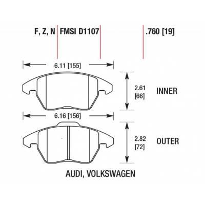 HAWK HP+ передние тормозные колодки AUDI TT/A3/VW Golf 5-7 GTi/Scirocco/Passat/Octavia RS (под 312мм диск)