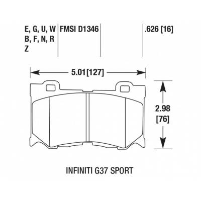 Hawk HPS передние тормозные колодки  для INFINITI QX70/G37/FX37/FX50/M56/370Z (Akebono)