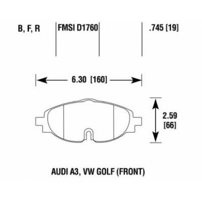 HAWK HPS Передние тормозные колодки для Skoda Octavia A7/Leon 5F/Golf 7/A3/TT/ (2012+) (под 312мм диск)