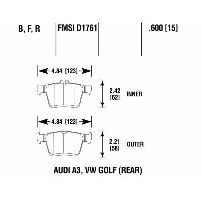 Brannor задние тормозные колодки VW Golf 7R/Tiguan 2/Audi S3/RS3/TTS