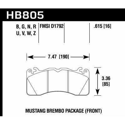 HAWK HPS 5.0 передние тормозные колодки FORD MUSTANG BREMBO PACKAGE 2015->