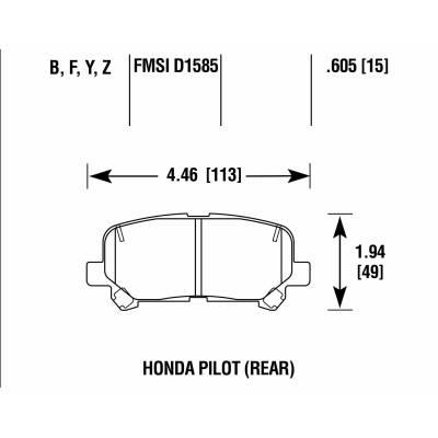 BRANNOR задние тормозные колодки для Honda Pilot (09+)/Acura MDX (mk2)/ZDX