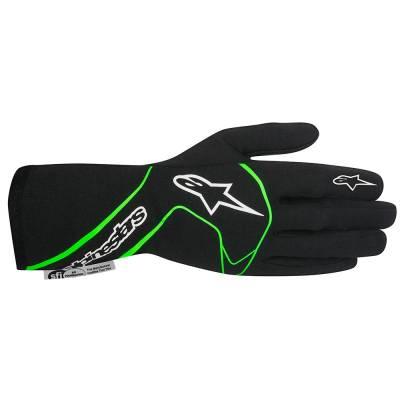 ALPINESTARS 3551017_167_M Перчатки для автоспорта TECH 1 RACE, FIA, чёрный/зелёный, р-р M