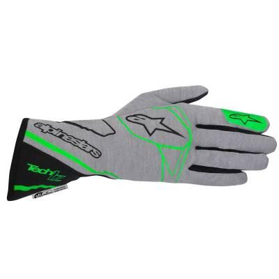 ALPINESTARS 3550017_967_L Перчатки для автоспорта TECH 1-Z, FIA, св. серый/зелёный/чёрный, р-р L