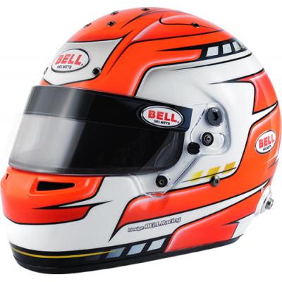 BELL 1310025 Шлем для автоспорта (FIA) RS7 PRO HANS FALCON RED, оранжевый/белый, р-р 58 , закрытый