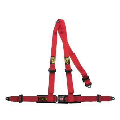 OMP DA504061 Ременьремни безопасности ROAD 3, 4точ-2, болты, красный