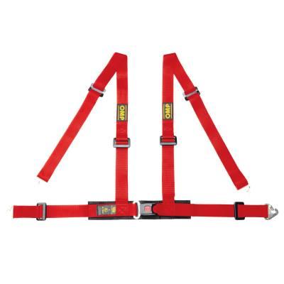OMP DA508061 Ременьремни безопасности ROAD 4M, 4точ-32, крючки, красный