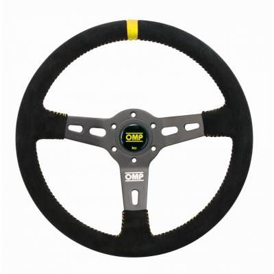 OMP OD/2055/N Руль RS. круглый хват 30 мм. диаметр 350 мм. вылет 70 мм. замша. чёрный/жёлтый