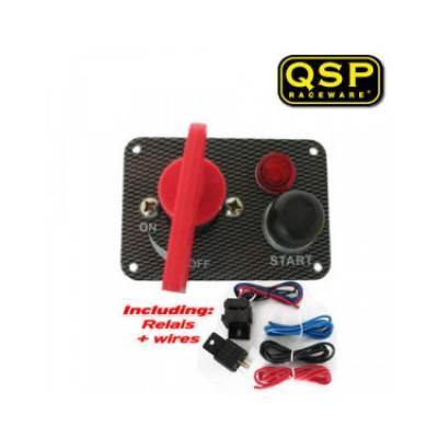 QSP QE6001C Панель зажигания Carbon-look, масса-старт-лампочка, 95x65 мм