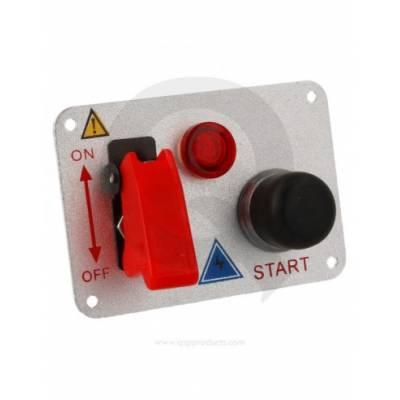 QSP QE6003 Панель зажигания (тумблер, кнопка старта, индикатор), алюминий, 95x65 мм