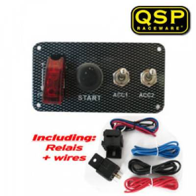 QSP QE6007 Панель зажигания Carbon-look (тумблер, кнопка старта, 2 тумблера),125x65 мм