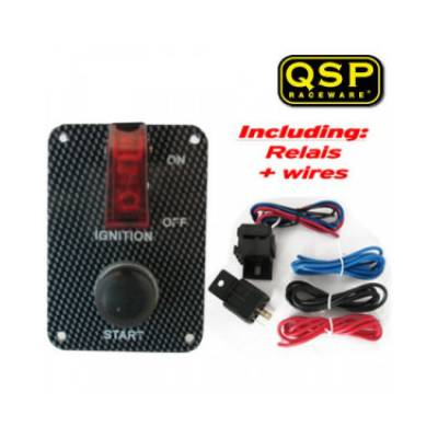 QSP QE6009C Панель зажигания Carbon-look (тумблер зажигания, кнопка старта), 95x65 мм