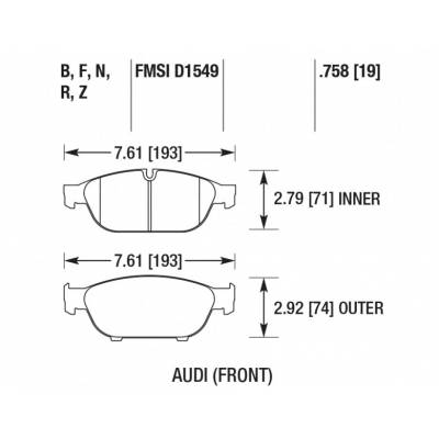 HAWK HPS Передние Тормозные колодки для AUDI A5/A6/A7/A8/S8  (под 356мм диск)